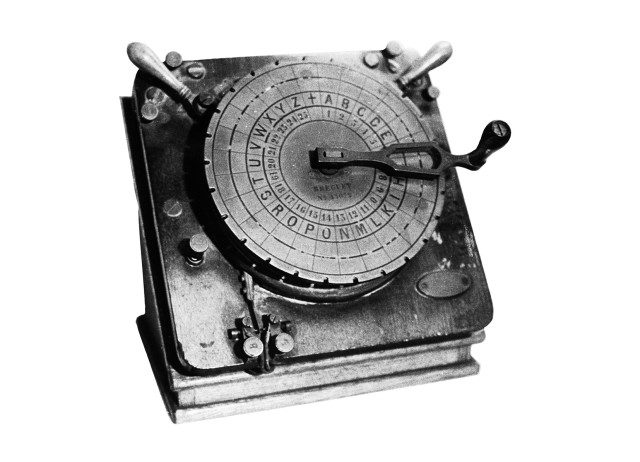 Brequet letter-point device used in first transmissions in 1869 (Courtesy NTT)