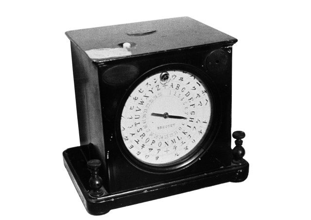Brequet letter-point device supporting Japan's katakana syllabary used in the first domestic telegraph system (Courtesy NTT)
