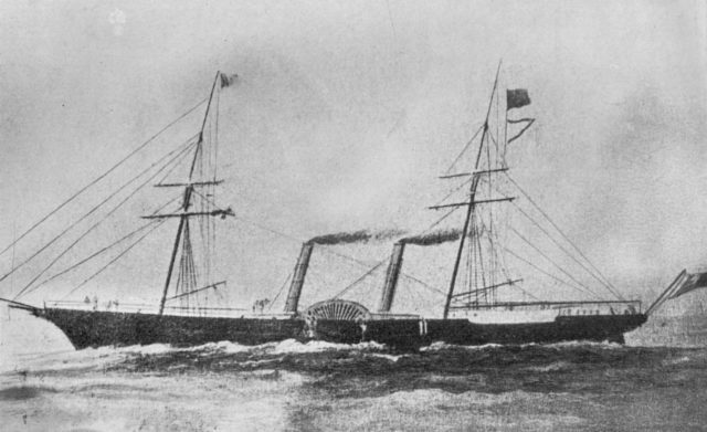 HMS Coromandel in 1860 - Dickens served as assistant surgeon on the ship when he first arrived in Yokohama in 1863.
