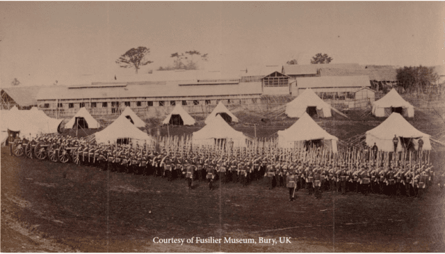 A parade on the Parade Ground of the main British camp on the Bluff with 2nd Batt XXth regt. centre. Football and other sports were mainly played here in the mid-1860s.