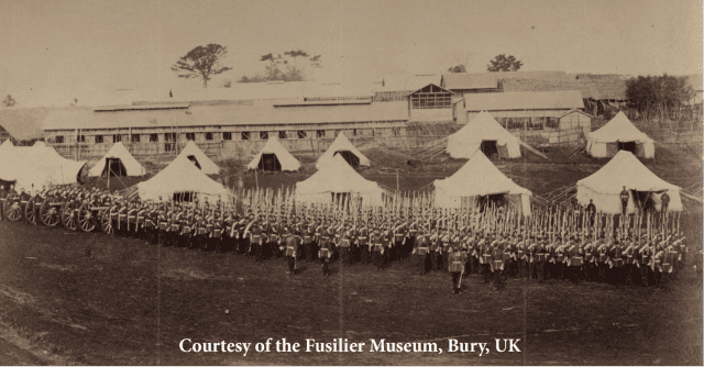 RA, XXth Regt. & 67th Regt. on the Parade Ground where early football matches were played.