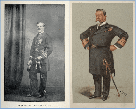 Left: Harry Rawson as he looked when in Japan; Right: as an admiral in Vanity Fair image