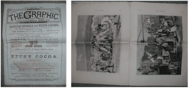 Photos of 1. Front page of The Graphic' issue dated April 14 1874; and 2. Layout of pages containing rugby illustration